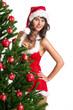 attraktive Frau in Dessous hinter Weihnachtsbaum