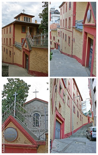 Church, Collage  Santa Maria Catholic Church in Trabzon, Turkey