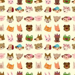 cartoon animal face seamless pattern
