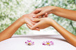 Hands massage in the spa salon