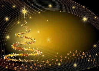 Natale Albero Oro Sfondo-Golden Christmas Tree Background