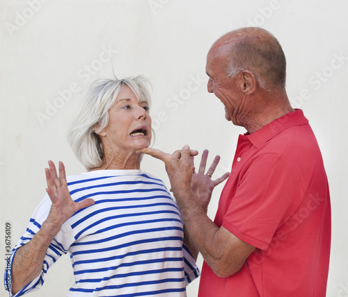 mature couple having a domestic fight