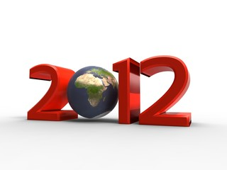 3d illustration of our planet in the new year 2012