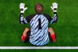Overhead shot of a goalkeeper on the goal line poster