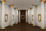Perspective of gallery walls with Corinthian order column poster