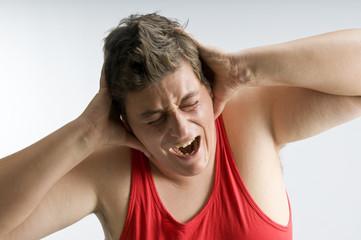 a man screaming in studio
