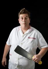 a butcher man in studio