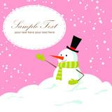Cute cartoon snowman winter Christmas сard
