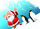 santa with penguins