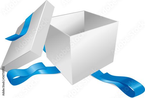 Cadeau ruban bleu ouvert