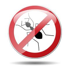 Señal prohibido hormiga