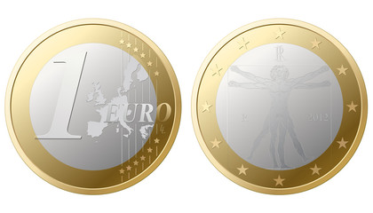 1 Euro vector - front/back