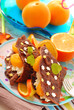 chocolate pancakes with cottage cheese and tangerines