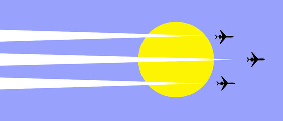 vector illustration plane in sky on background sun