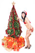 Mrs. Santa with gift boxes and Christmas tree....