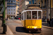 Old isbon yellow tram on the street