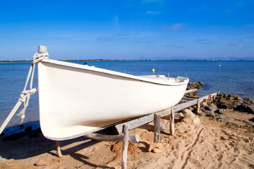 beached boat in Formentera Estany des Peix