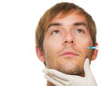 Man gets cosmetic injection of botox. Beauty Treatment