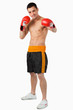 Young boxer performing a left hook