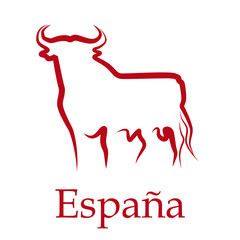 Drawing Logo Spain, Bull # Vector
