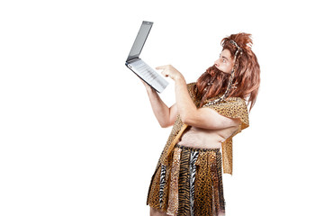 Caveman with a laptop computer (4).