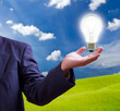 light bulb on hand