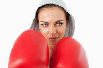 Female boxer wearing hoodie