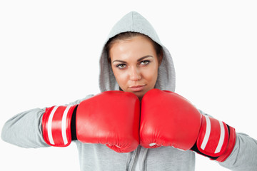 Female boxer wearing hoodie sweater