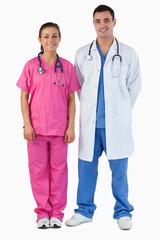 Portrait of a doctor and a nurse standing up