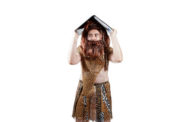 Caveman with a laptop over your head.