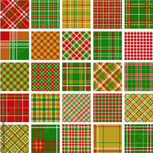 Big set of christmas plaid patterns