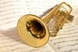 Nahaufnahme einer goldenen Trompete auf einem Notblatt liegend - 36770901