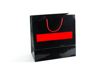 Black paper bag on white background