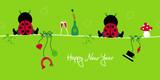 2 Sitting Ladybugs & Symbols New Year´s Eve poster