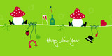 2 Sitting Fly Agarics & Symbol New Year´s Eve poster