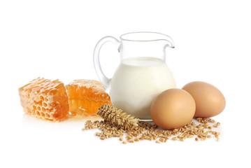 Milk, wheat seeds, eggs and honey