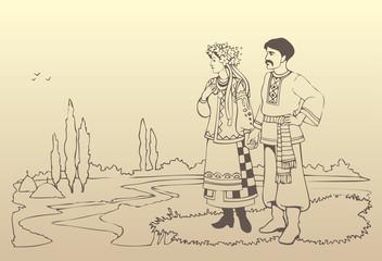 Vector ukrainian couple in national costumes
