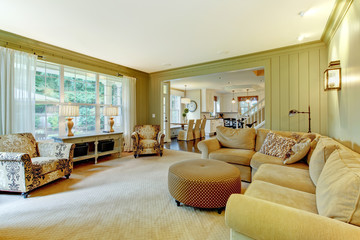 Natural luxury cream and green living room