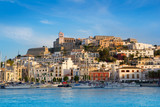 Fototapeta Ibiza Eivissa town with blue Mediterranean