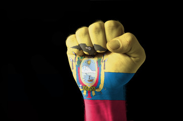 Fist painted in colors of ecuador flag