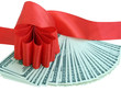 red bow on banknotes