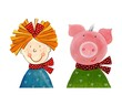 Girl and Pig. Cartoon characters