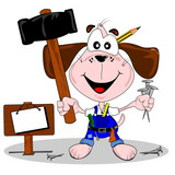 DIY cartoon dog with hammer and nails. Copy space signpost poster