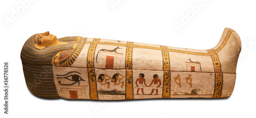 Egyptian sarcophagus isolated with clipping path