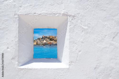 Leinwanddruck Bild Ibiza mediterranean white wall window