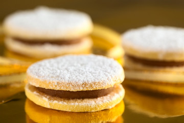 Peruvian cookies called alfajores filled with caramel-cream