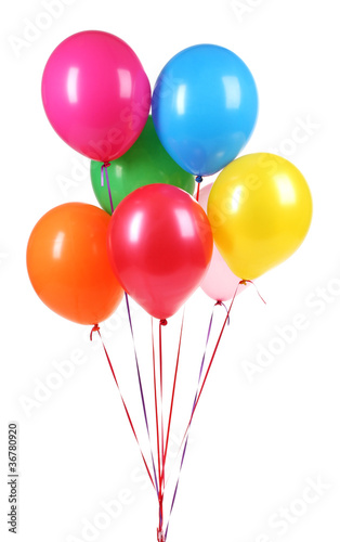 bright balloons isolated on white.