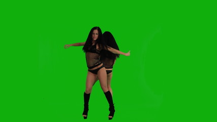 Two girls dancing on the green screen