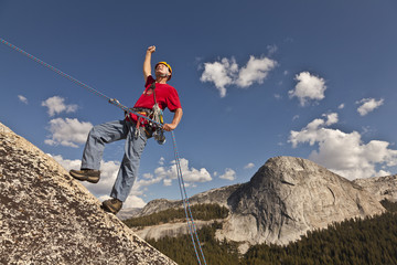 Climber rappelling from the summit.