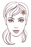 Beautiful woman portrait, linear illustration poster